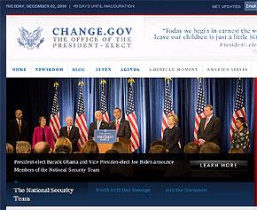 オバマ次期米大統領の政権移行サイト「Change.gov」