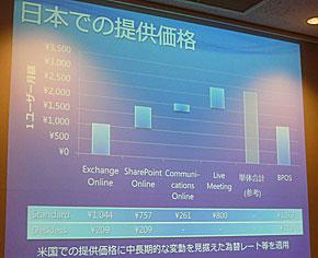 日本での提供価格