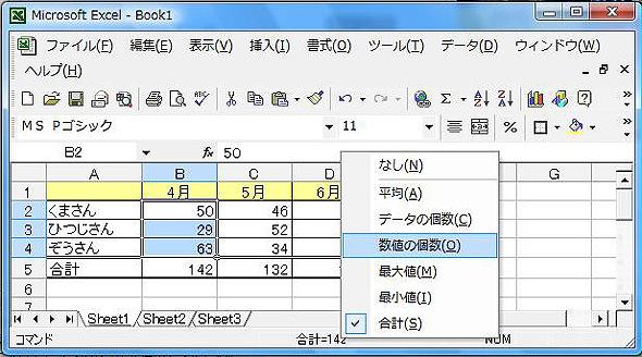 「データの個数」と「数値の個数」がどちらも用意されている