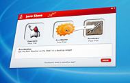 「Java Store」のデモ画面。ユーザーはドラッグ&ドロップで簡単にアプリケーションを手に入れられる