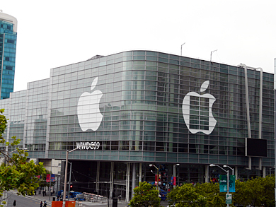 会場付近では翌週開催する米Appleのイベント「WWDC 2009」の準備が進められていた