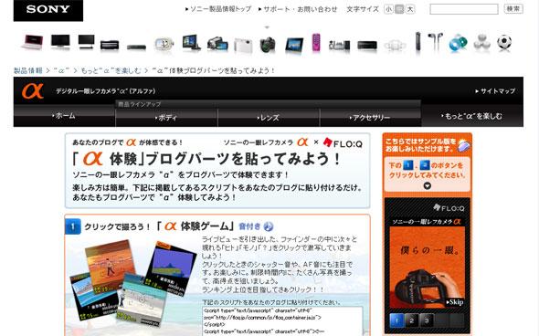 ソニーのWebプロモーションのイメージ