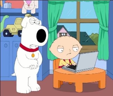 アメリカのアニメ、ファミリーガイの人気キャラ