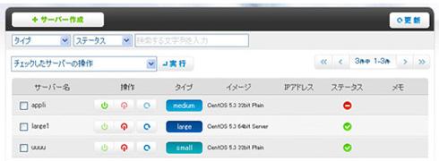 ニフティクラウドのサーバ操作画面イメージ