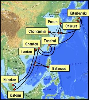 海底ケーブルのネットワーク図