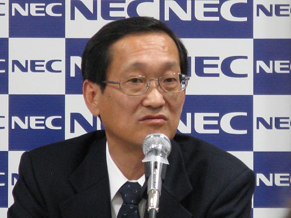 記者説明会に臨むNECの山元正人 執行役員常務