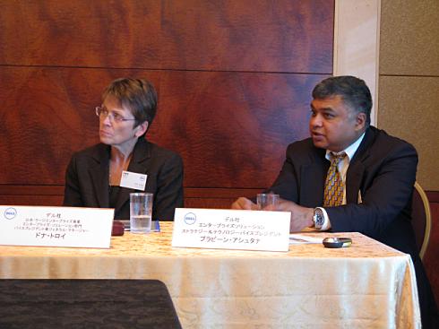 来日会見した米Dellの幹部。右からエンタープライズ・ソリューション ストラテジー&テクノロジー バイスプレジデントのプラビーン・アシュタナ氏、公共・ラージエンタープライズ事業エンタープライズ・ソリューション部門バイスプレジデント兼ジェネラル・マネージャーのドナ・トロイ氏