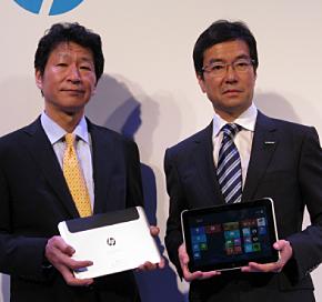 日本HPの岡隆史副社長(左)と日本マイクロソフトの樋口泰行社長