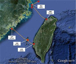 海底ケーブルの敷設ルート