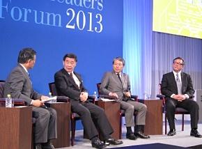左から、中部日本放送の石塚氏、岡谷鋼機の岡谷氏、サーラコーポレーションの神野氏、日本IBMの三瓶氏によるパネルディスカッション