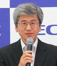 発表会見に臨むNECの福田公彦執行役員