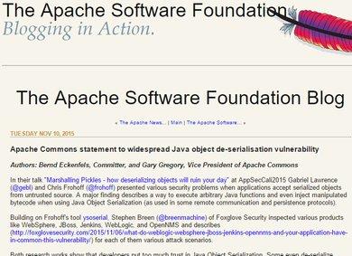 Apache Commonsライブラリの脆弱性問題、Oracleなどが対応表明 - ITmedia