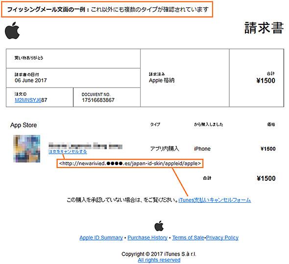Appleからの注文確認を装ったフィッシングメールなどが出回っている