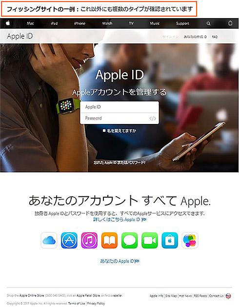 フィッシングサイトにアクセスするとApple IDの入力などを求められる
