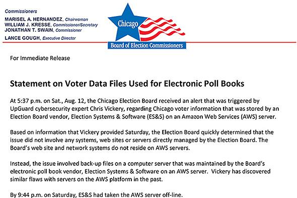 有権者情報が流出した可能性について報告するシカゴ選挙管理委員会の文書