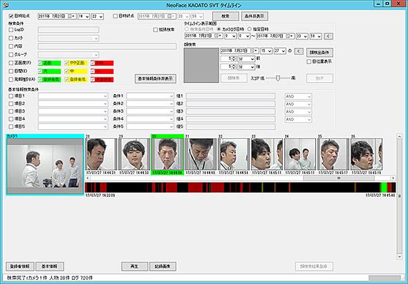 ログの中から顔を選択すると、その人物が映っているシーンを簡単に呼び出せる