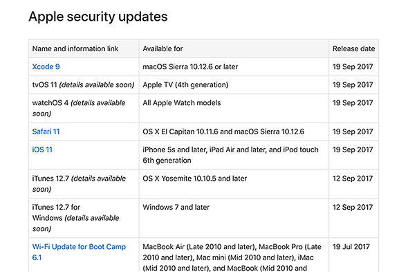 Apple Security Updates