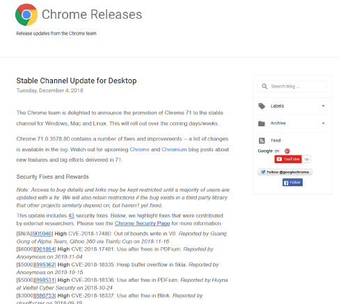 安定版の「Google Chrome 71」公開、不正防止の対策実装