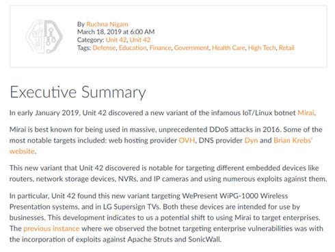 IoTマルウェア「Mirai」の標的が企業にシフト、攻撃の威力さらに増大の恐れ