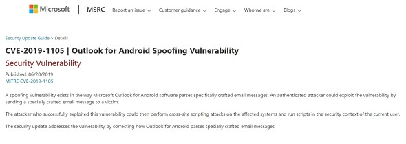 MicrosoftはOutlook for Androidの脆弱性を発表した