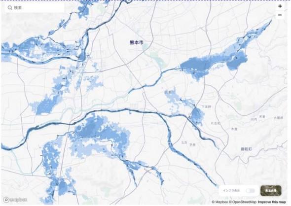 洪水による浸水エリアの被害予測シミュレーションイメージ