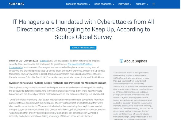Sophosのグローバル調査結果