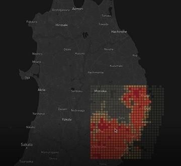 抽出したデータを地図システムにプロットしたもの