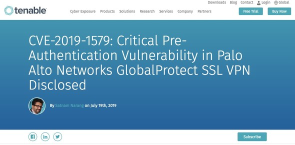 Palo Alto NetworksのVPN製品に脆弱性、Uberでも使用 - ITmedia