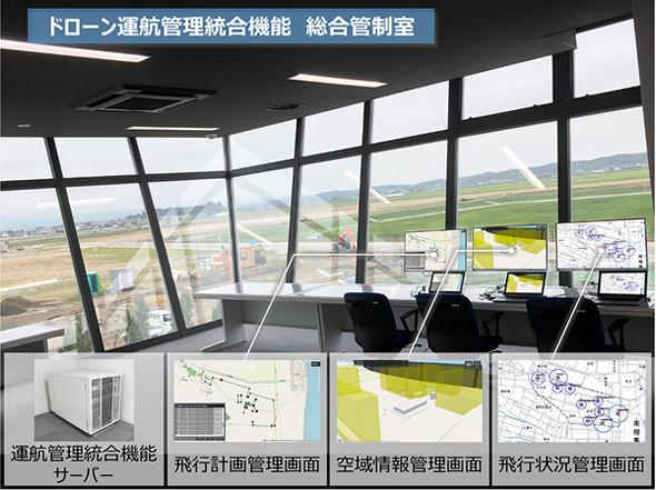 福島ロボットテストフィールドの総合管制室と運航管理統合機能サーバ