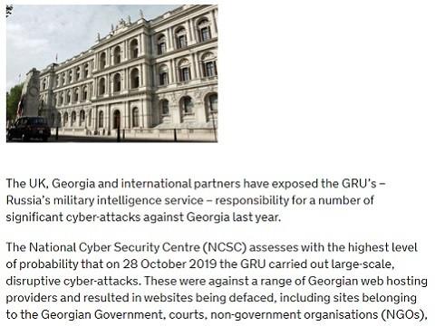 UK condemns Russia's GRU over Georgia cyber-attacks
