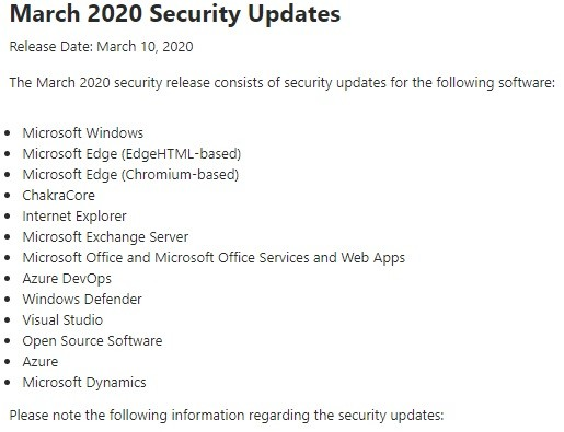 Release Notes March 2020 Security Updates