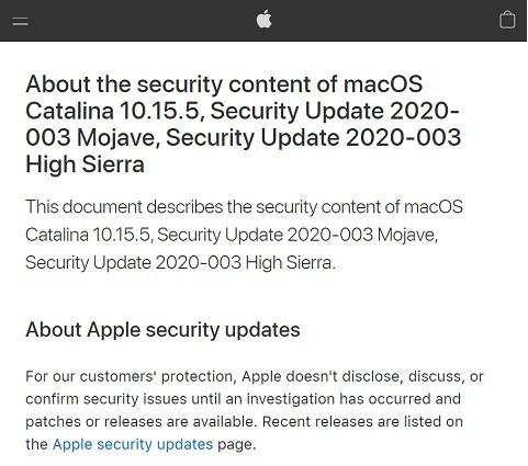 セキュリティ情報を公開するAppleのWebサイト