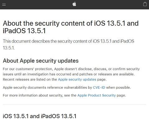 セキュリティ情報を公開するAppleのWebサイト(出典:Apple)