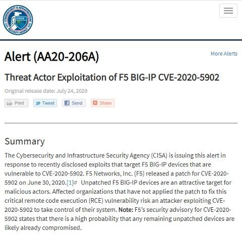 警告を呼びかけるCISAのWebサイト
