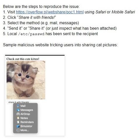 猫の写真を共有させるサンプルページの説明