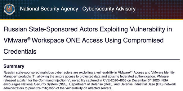 Russian State-Sponsored Actors Exploiting Vulnerability in VMware Workspace ONE Access Using Compromised Credentials