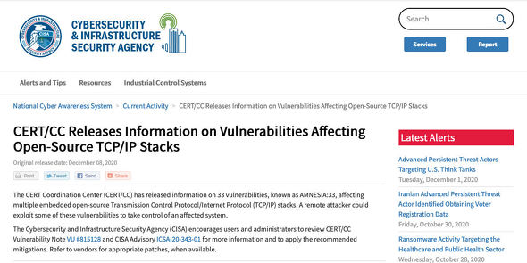 CERT/CC Releases Information on Vulnerabilities Affecting Open-Source TCP/IP Stacks|CISA