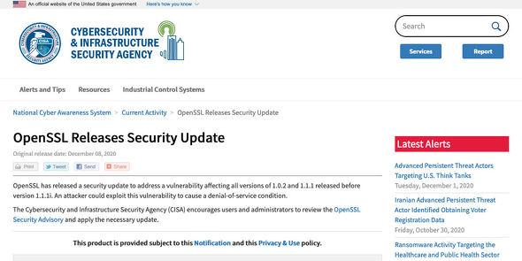 OpenSSL Releases Security Update|CISA