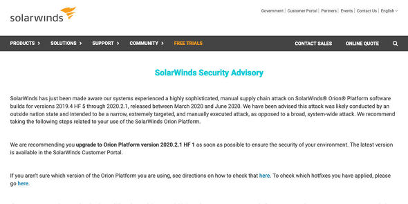 Security Advisory | SolarWinds