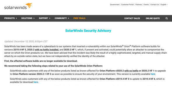 Security Advisory|SolarWinds