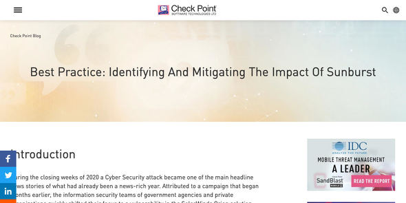 Best Practice: Identifying And Mitigating The Impact Of Sunburst - Check Point Software
