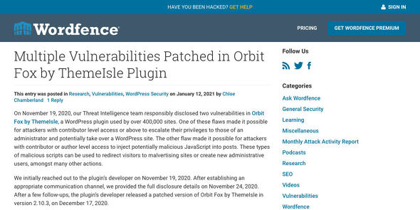 Multiple Vulnerabilities Patched in Orbit Fox by ThemeIsle Plugin