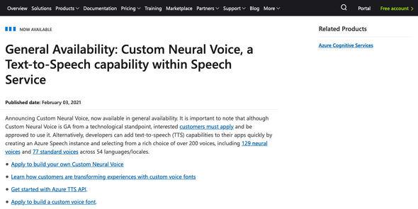 General Availability: Custom Neural Voice
