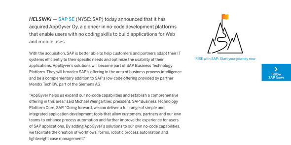 SAP to Acquire AppGyver