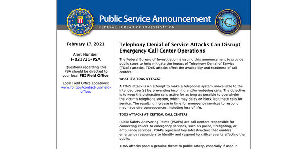 Internet Crime Complaint Center(IC3) | Telephony Denial of Service Attacks Can Disrupt Emergency Call Center Operations