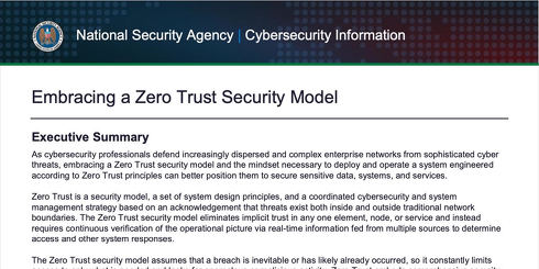 Embracing a Zero Trust Security Model - National Security Agency   Cybersecurity Information