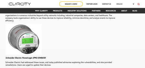 Claroty Uncovers Vulnerabilities in Schneider Electric Smart Meters - Claroty
