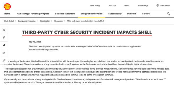 Third-party cyber security incident impacts Shell|Shell Global