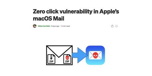 Zero click vulnerability in Apple's macOS Mail
