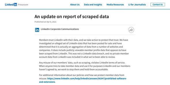 An update from LinkedIn